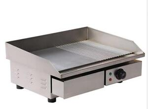 3kw 55cm Electric Griddle Grill Hot Plate Stainless Steel Commercial Bbq Grill T