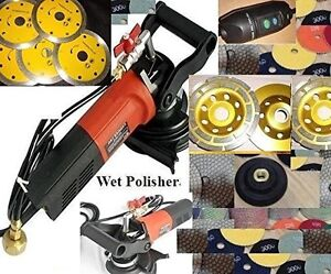 Variable Speed Concrete Wet Polisher Cutter Diamond 11 Pad Grinding Cup 4 Blade