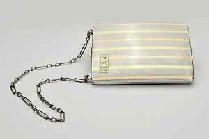 Sterling Silver 18k Art Deco Ladies Dance Coin Purse With Compact