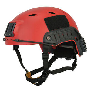 Airsoft Tactical ACH Base Jump Helmet Velcro Comm Systems NVG Red L-XL CA-334R