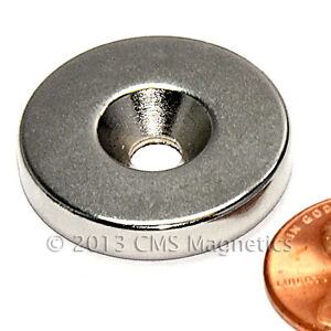 Cms Magnetic N42 Neodymium Disc Magnet 1 x 3 16 W 10 Countersunk Hole 10 pc