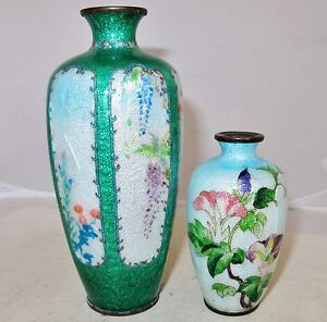 2 Antique Japanese Ginbari Meiji Cloisonne Vases With Flowers 6 95