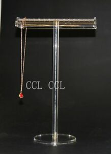 Luxury Large Clear Necklace bracklace Jewellery T Bar Display Stand Holder