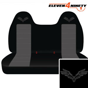 Ford F150 750 Black Charcoal Front Bench Seat Covers W Wings Choose Logo Color