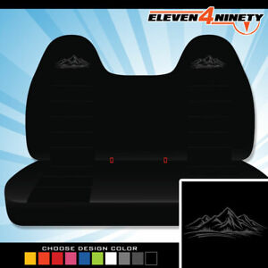 92 08 Ford F150 750 Black Front Bench Seat Covers Mountain Logo Chse Logo Color
