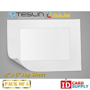 Teslin Synthetic Paper 4 X 6 Perforated 1 up Inkjet Sheet Pack Of 5