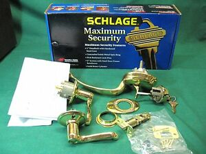 Schlage Entry Door Hardware Handleset Parts F358ply505 Almost Complete