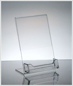 50 Acrylic 4 X 6 Slanted Sign Holders With Business Card Holder