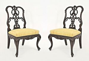 Pair Of English Chippendale Style 19th Cent Mahogany Ribbon Back Side Chairs