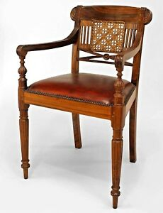 Set Of 8 English Anglo Indian Hardwood Arm Chairs