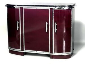 French Art Deco Sideboard With Black Marble Top