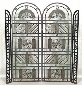 French Art Deco Wrought Iron Filigree Design 4 Panel Gate Att Edgar Brandt