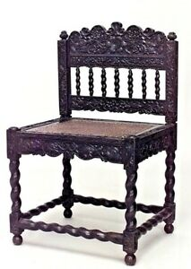 English Anglo Indian Rosewood Carved Side Chairs With Cane Seat Panel