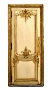 Pair Of French Louis Xv Style 19th Cent White Gold Painted And Carved Door