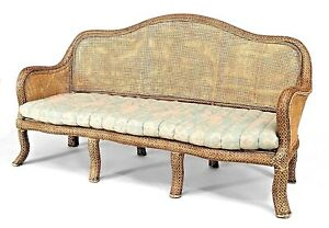 English Anglo Indian Style Natural Wicker Settee