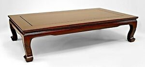 Asian Chinese Export Hong Black Wood Low Rectangular Coffee Table