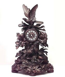 Rustic Black Forest 19th Cent Carved Walnut Mantel Clock With Floral Design