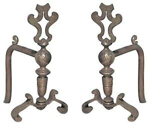 Pair Of English Georgian Style Brass Open Top Andirons With Scroll Base