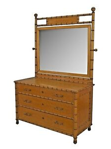 American Victorian Faux Bamboo Birds Eye Dresser With Large Mirror