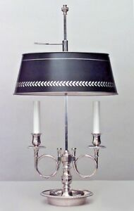 French Empire Style 20th Cent Silver Plated 2 Arm Bouillotte Table Lamp