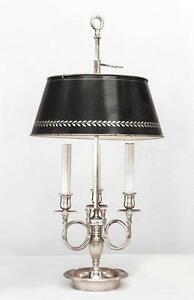 French Empire Style Silver Plate 3 Arm Bouillotte Table Lamp