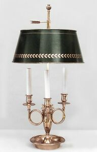 French Empire Style Brass Bouillotte Table Lamp With Horn Motif