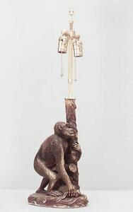 English Victorian Style 20th Cent Porcelain Table Lamp Of Monkey Holding Post