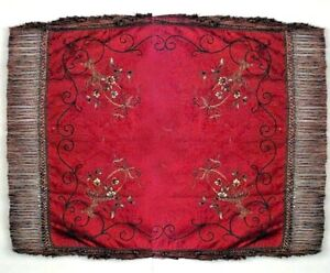 American Victorian Red Silk Embroidered Table Cover