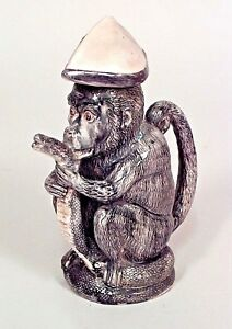 English Victorian Majolica Monkey Figure Pitcher With Snake Spout