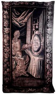Belgian 17th Cent Vertical Woven Tapestry Of Lady Looking At Mirror