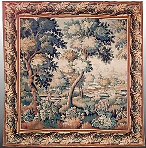 Belgian Style Woven Tapestry Of Forest Scene With Floral Border 20th Cent