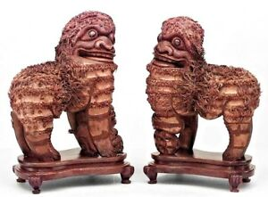 Pair Of Asian Chinese Style 19th Cent Carved Wood Foo Dog Figures