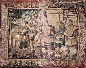 Continental Franco Belgian Antique 17th Century Woven Tapestry