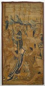 Belgian Vertical Woven Tapestry Of Kneeling King With Figures 17 18th Cent