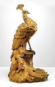 French Victorian Life Size Bronze Dore Figure Of Peacock