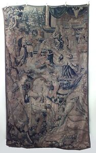 Belgian Style Antique Vertical Woven Tapestry With Soldiers Horse 17 18th C