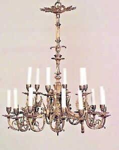 French Empire Style 19th Cent Bronze Dore 18 Arm Chandelier With Winged Figure