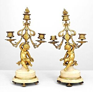 Pair Of French Victorian Bronze Dore 3 Arm Candelabras