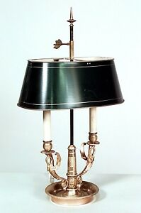 French Empire Style 20th Cent 2 Swan Arm Round Base Bouillotte Table Lamp