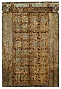 Asian Probably Indian Blue White Distressed Painted And Carved Pair Of Doors