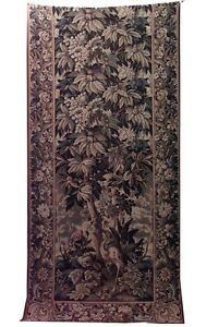 Continental Belgian Style Woven Tapestry With Bird And Floral Design With Border