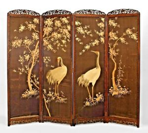 Asian Japanese 19th Cent 4 Fold Embroidered Screen With Herons 7 Floral Design
