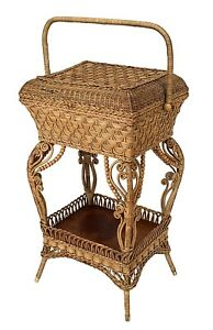 American Victorian Natural Wicker Sewing Table With Woven Flip Top Box