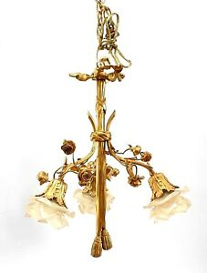 French Louis Xvi Style Gilt Bronze Chandelier With Embellished With Flowers