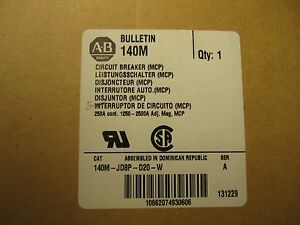 New Allen bradley 200a Amp Breaker 140m jd8p d20 w New In Box