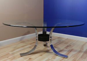 Mid Century Modern Coffee Table Chrome Metal Glass Style Of Osvaldo Borsani