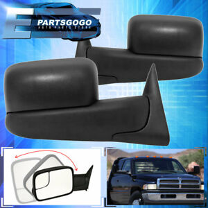 94 01 Dodge Ram 1500 94 02 2500 3500 Flip Up Extendable Manual Tow Mirrors