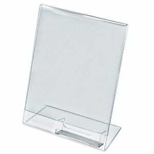 10 Acrylic 8 1 2x11 Slanted Sign Holders With Attached Business Card Holder
