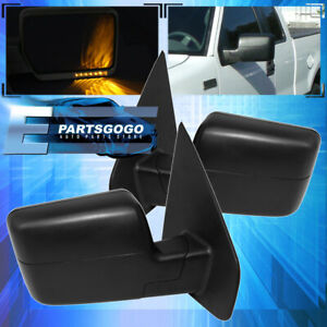 For 04 14 Ford F150 Led Signal Heated Power Towing Door Mirror Black Pair Set