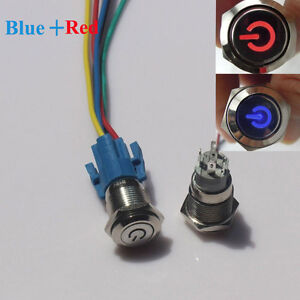 Red Blue Led 16mm 12v Car Metal Push Button Toggle Switch With Socket Sale